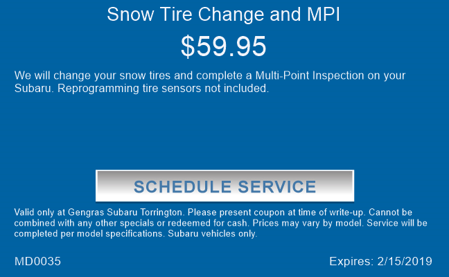 Snow Tire Change and MPI