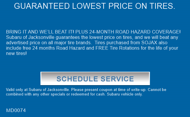 GUARANTEED LOWEST PRICE ON TIRES.